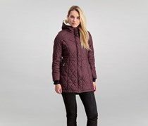 Steve Madden Women's Guilted Anorak With Sherpa Hood Lining, Merlot