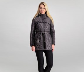 Steve Madden Belted Hooded Coat, Titanium