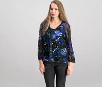 Inc Petite Floral-Print Lace-Up Top, Floral Flow