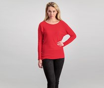 Women Laced-Back Sweater, Red