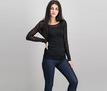 Women Ruched-Sleeve Mesh Illusion Top, Deep Black