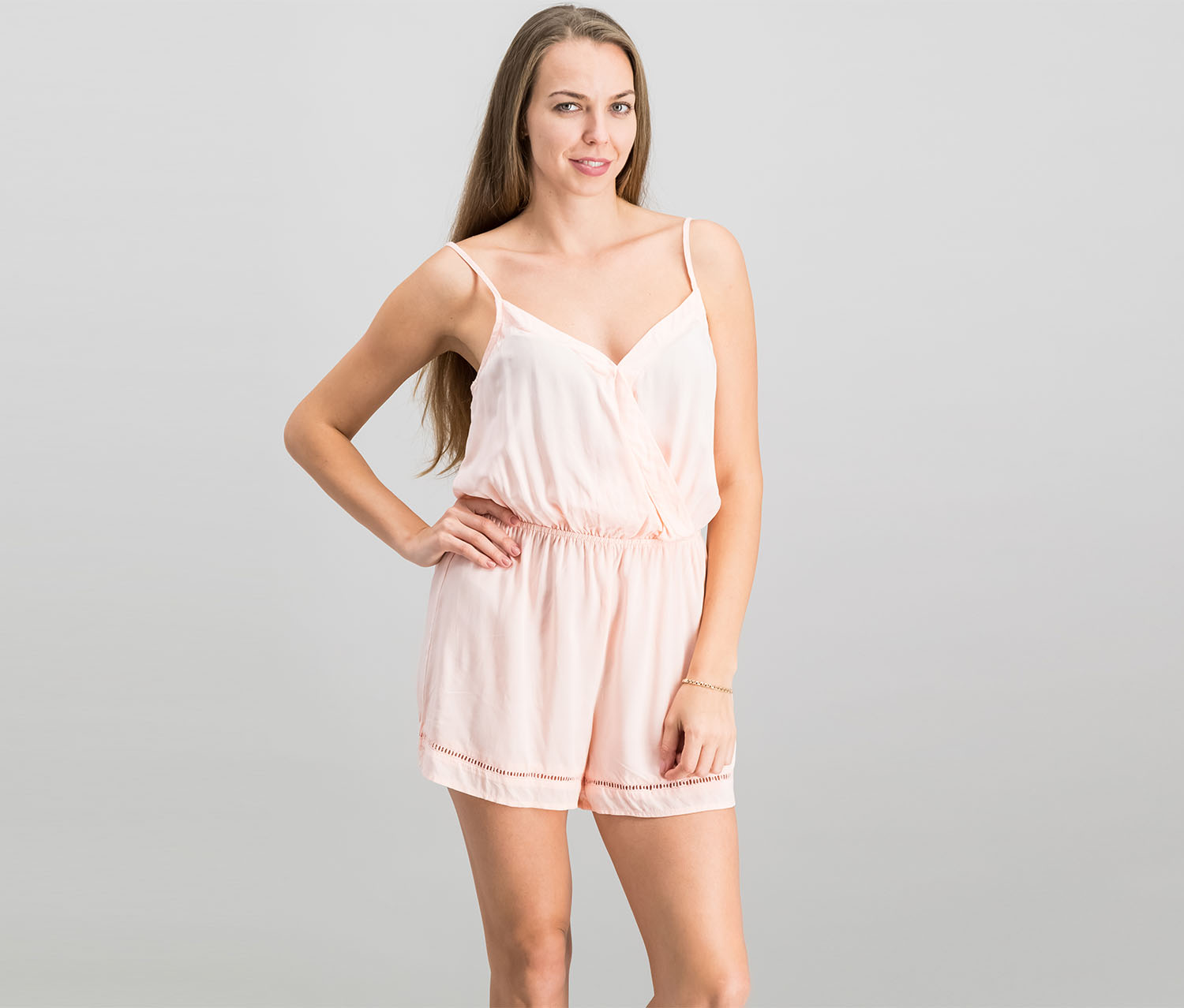 Be Bop Juniors Crochet-Trim Spaghetti-Strap Romper