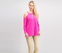 INC Women's Women's Keyhole Cold Shoulder Casual Top, Intense Pink
