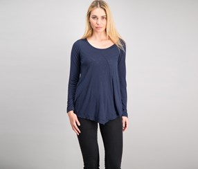 . Women's Ribbed Asymmetrical-Hem Top, Industrial Blue