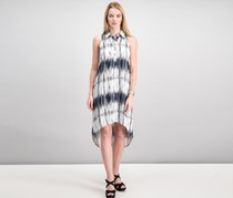 Teeze Me Juniors Sleeveless Tie Dye Shirt Dress, Navy/White