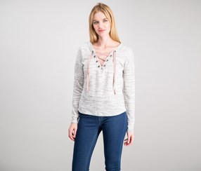 Women Juniors Convertible Lace-Up Sweater, Heather Grey