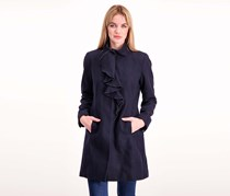 T Tahari Kate Ruffle Wool Blend Coat, Galaxy