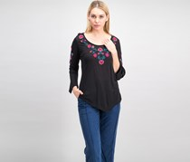 NY Collection Embroidered Bell-Sleeve Top, Black