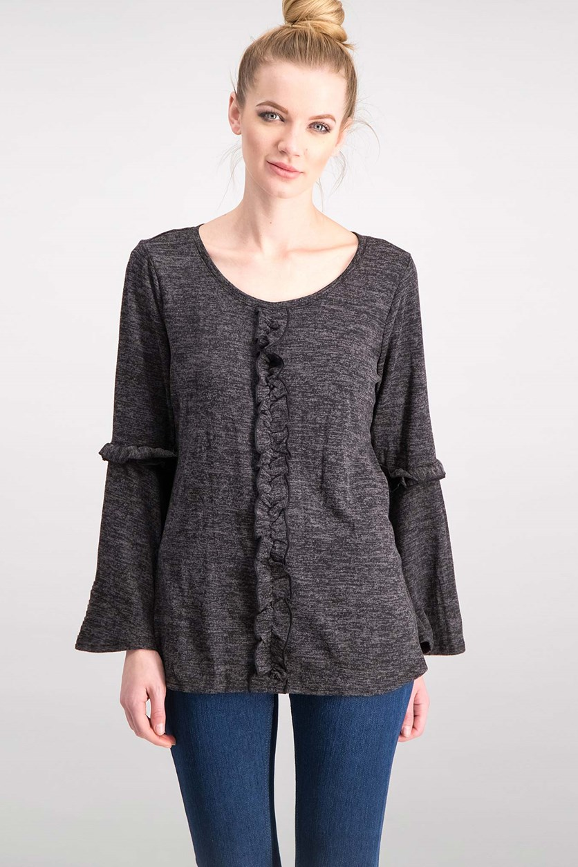 Women Ruffled Bell-Sleeve Top, Smoke Black
