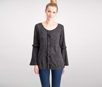Ny Collection Women Ruffled Bell-Sleeve Top, Smoke Black