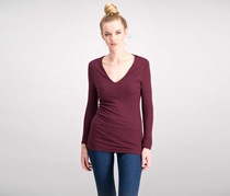 Inc International Concepts Ribbed V-Neck Top, Port