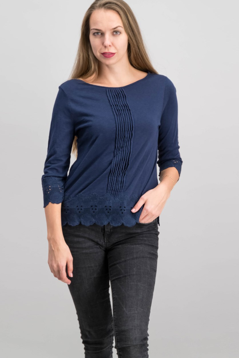 Petite Cotton Crochet-Trim Top, Intrepid Blue