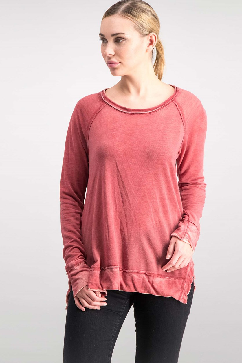 . Women's Distressed Sweatshirt,  Crimson Wash