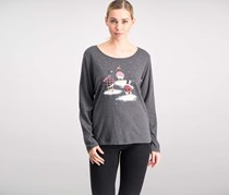 Karen Scott Women's Cotton Geese-print T-Shirt, Charcoal Heather