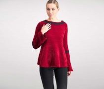 Style & Co. Women's Embroidered Chenille Sweater, Cranberry