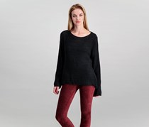 Style & Co. Women's Long-Sleeve Textured Boat-Neck Sweater, Deep Black