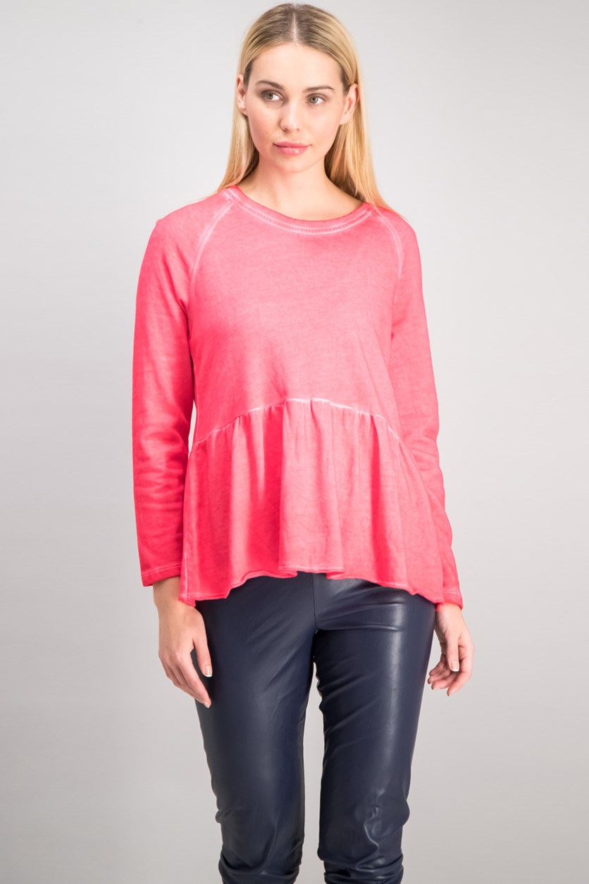 . Women's Peplum Flounce Top, Dark Rose