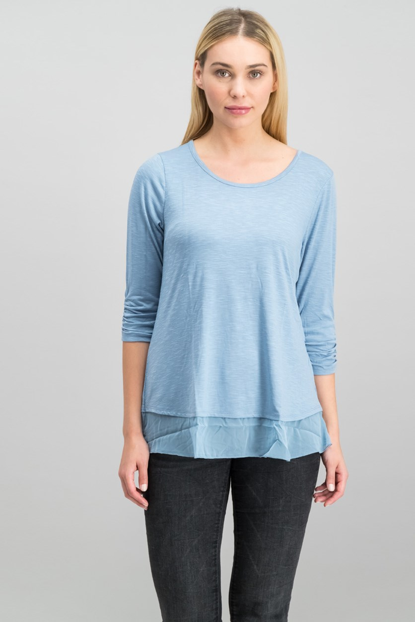 . Women's Chiffon-Hem Three-Quarter-Sleeve Top, Blue Fog