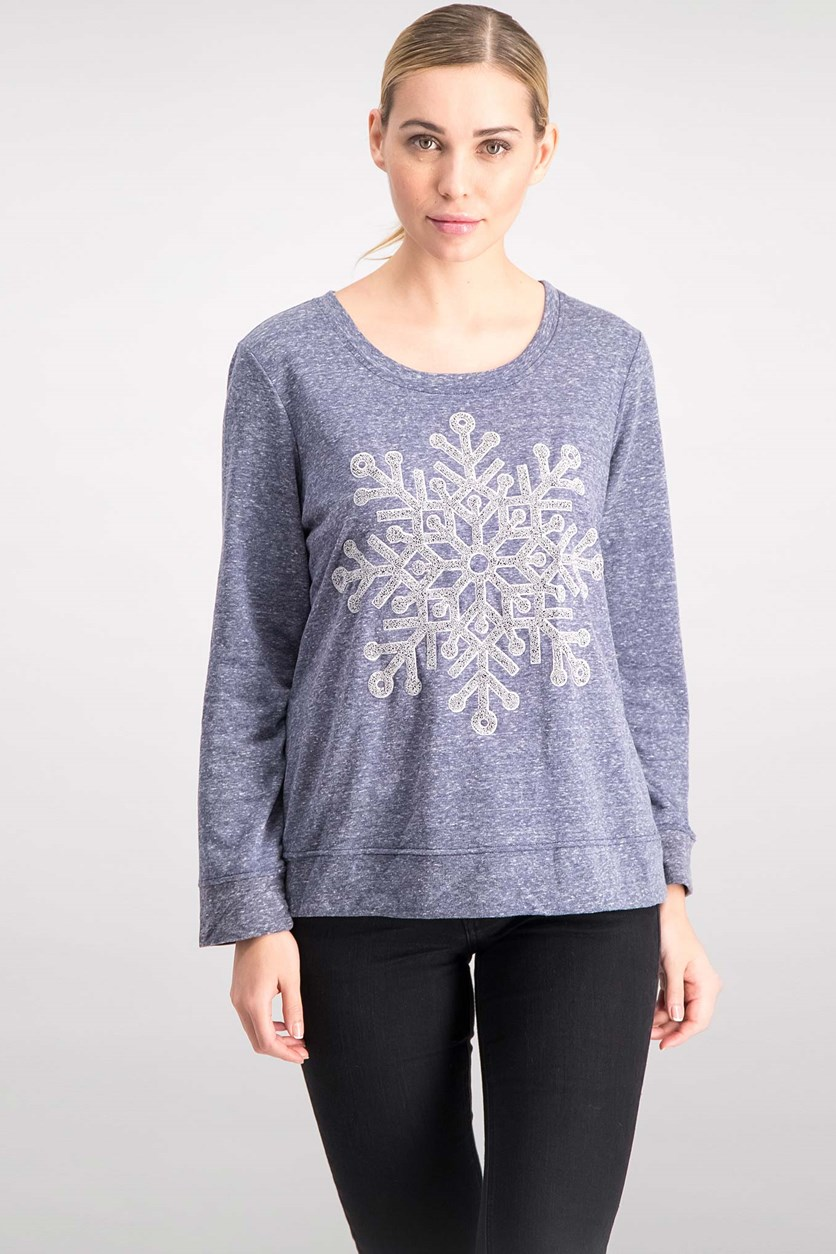 . Women's Embellished Snowflake Sweatshirt, Blue