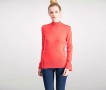 Cable & Gauge Flared-Cuff Mock-Neck Sweater, GojiBerry
