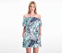Necessary Objects Women's Printed Off Shoulder Dress, Navy/Turq/White