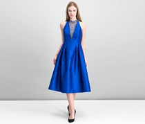 Women Embellished Mikado Party Dress, Deep Sapphire