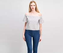 Women Mallory Off Shoulder Top, Navy/White Combo