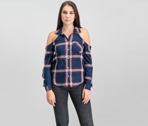 Women Juniors Cold-Shoulder Plaid Shirt, Navy/Burgundy