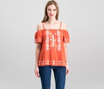 Sanctuary Cold-Shoulder Magnolia Cotton Embroidered Blouse, Evening Sun