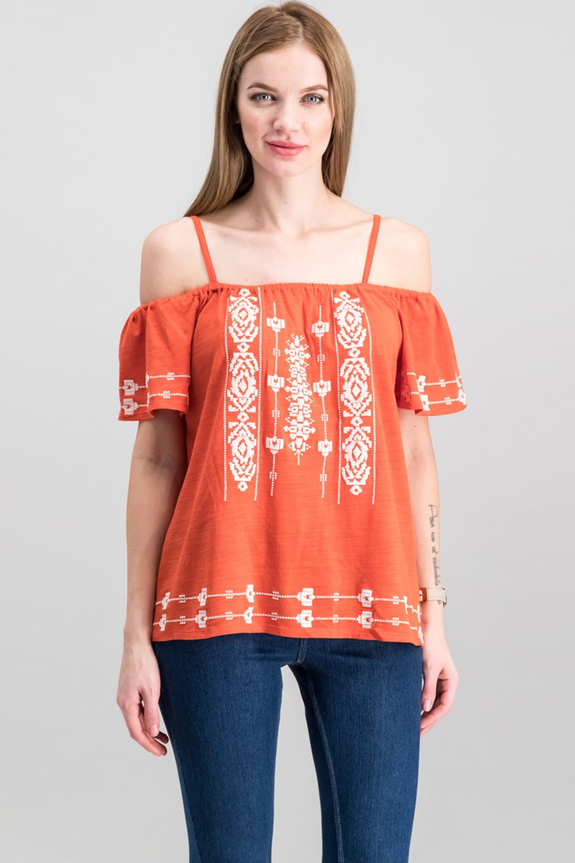 Cold-Shoulder Magnolia Cotton Embroidered Blouse, Evening Sun