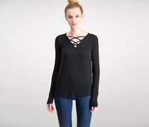 Hippie Rose Juniors Long-Sleeve Lace-Up Top, Black