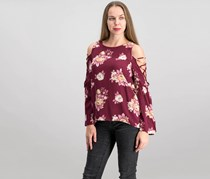 Women Juniors Printed Bell-Sleeved top, Burgundy Floral