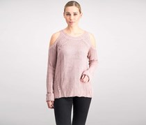 Women Juniors' Cold-Shoulder Sweater, Lilac Bloom