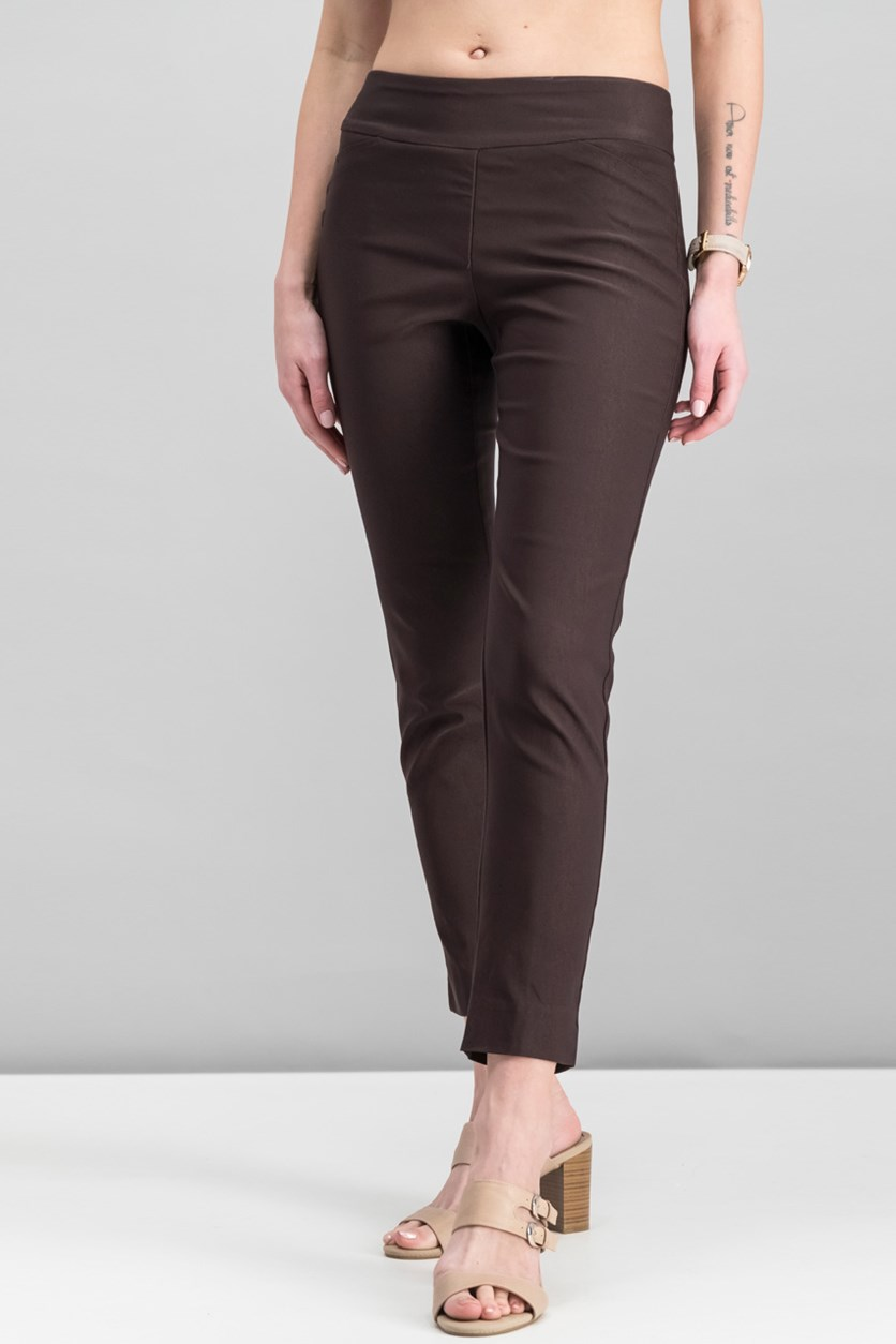 Petite Cambridge Tummy-Control Slim-Leg Pants, Dark Chocolate