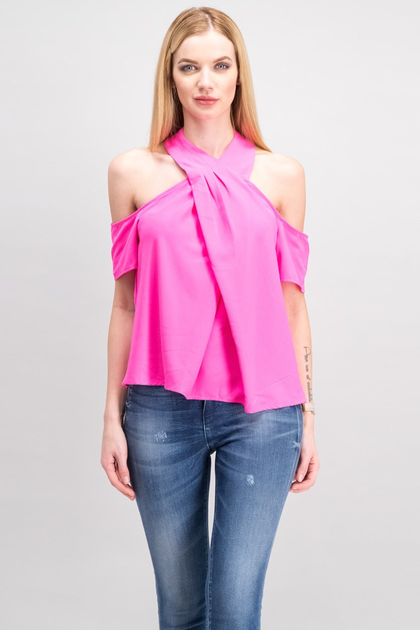 Women Off-The-Shoulder Crossover Top, Neon Pink