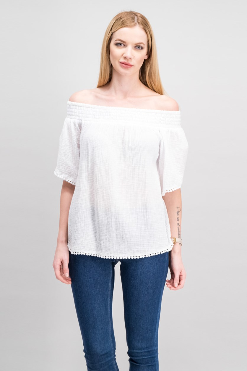 Women's Smocked Off-the-Shoulder Blouse, White