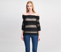 Women Ruffled Off-The-Shoulder Top, Black