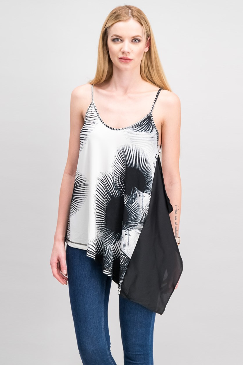 Women Printed Asymmetrical Camisole, Black/White