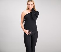 Women's One-Shoulder Button-Sleeve Tops, Black