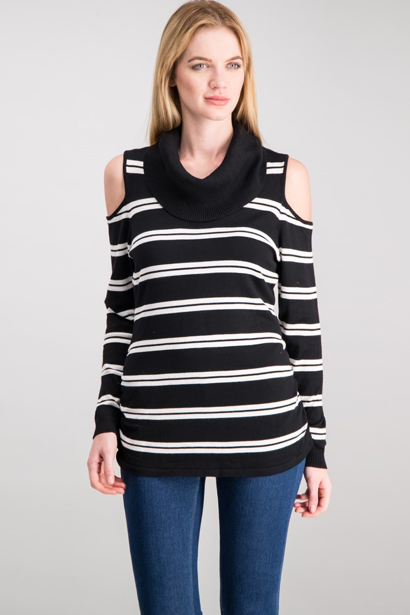 Women's Cowl-Neck Cold-Shoulder Sweater, Black/White
