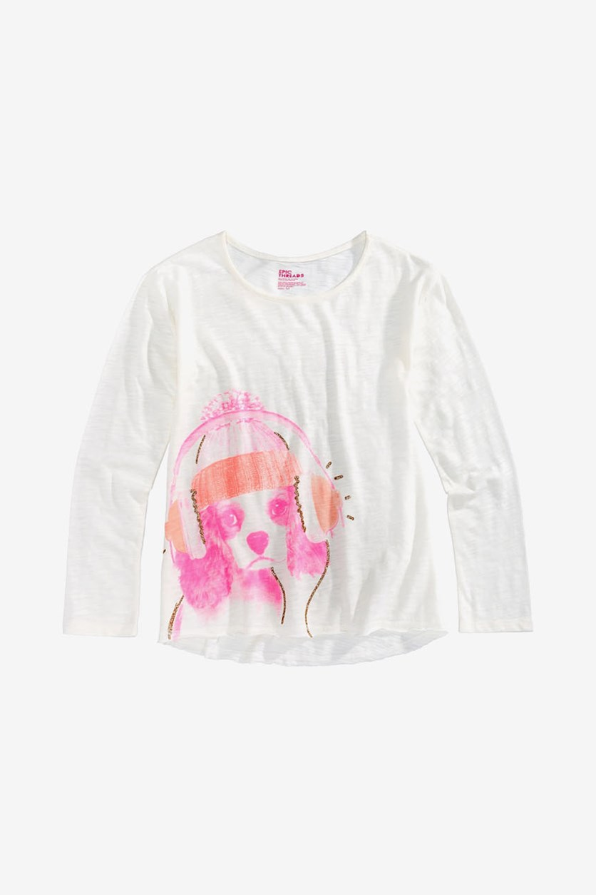 Glitter-Print Long-Sleeve T-Shirt, Holiday Ivory