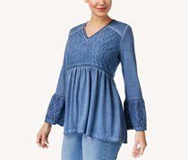 Style Co Jacquard-Detail Peasant Top, Industrial Blue