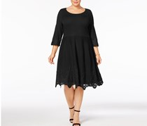Charter Club Plus Size Lace-Hem Sweater Dress, Deep Black