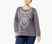 Style & Co Floral Pattern Sweater, Heather Gray