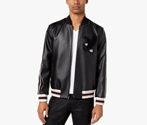 Inc International Concepts Men's Faux-Leather Varsity Jacket, Black