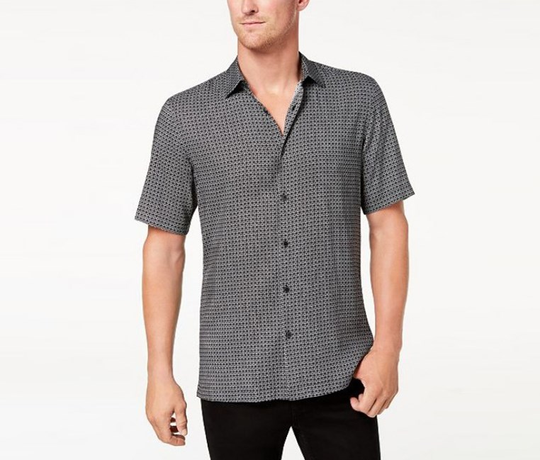 Mens Geo-Print Shirt, Deep Black Combo