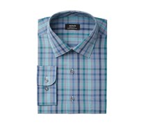 Alfani Men's Classic/Regular Fit Performance Stretch Easy-Care Square Line Check Dress Shirt, Blue Combo