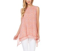 Fever Womens Double Layer Blouse, Coral