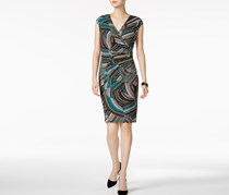 Kasper Zigzag Swirls Surplice Dress, Green/Black Combo