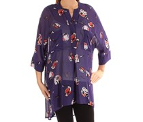 Women Sheer High-Low Blouse, African Violet Combo